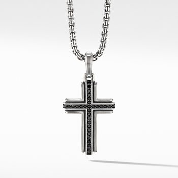 Deco Cross Pendant with Pavé Black Diamonds
