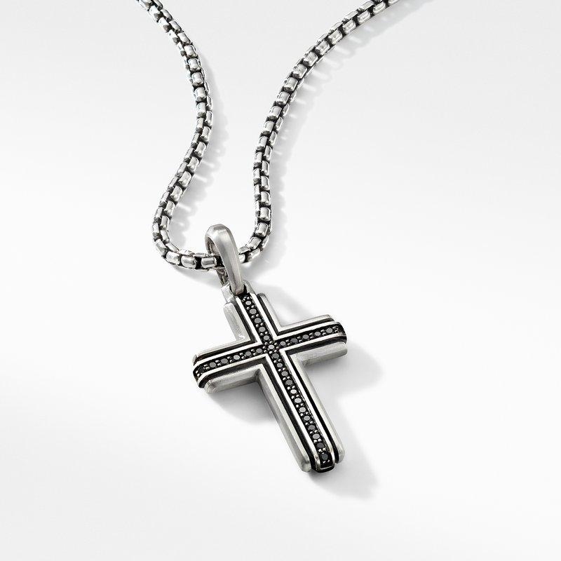 David Yurman Deco Cross Pendant with Pavé Black Diamonds