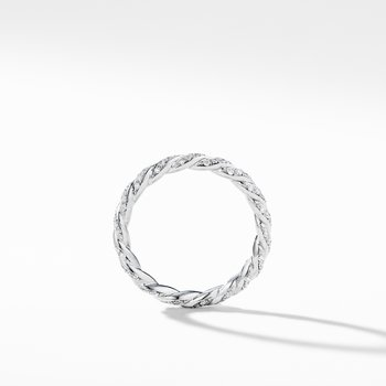 Paveflex Ring with Diamonds in 18K White Gold, 2.7mm