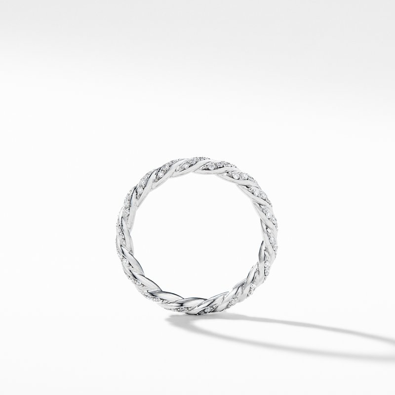 David Yurman Paveflex Ring with Diamonds in 18K White Gold, 2.7mm