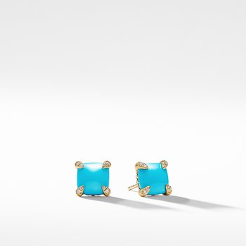 Chatelaine® Earrings with Turquoise in 18K Gold