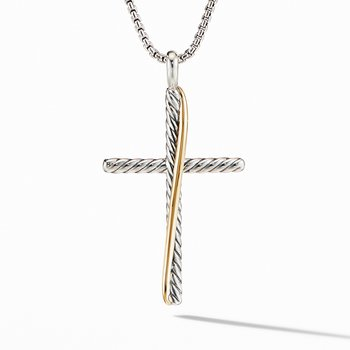 Crossover XL Cross Necklace with 18K Yellow Gold