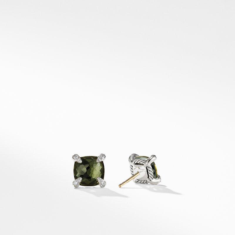 David Yurman Earrings with Green Orchid and Diamonds