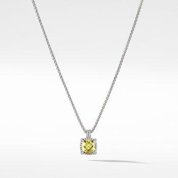 Châtelaine Pave Bezel Pendant Necklace with Lemon Citrine and Diamonds mm