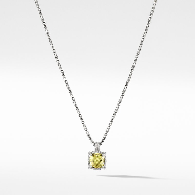 David Yurman Châtelaine Pave Bezel Pendant Necklace with Lemon Citrine and Diamonds mm