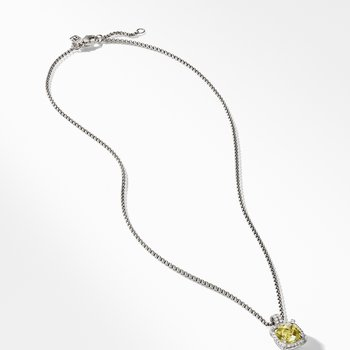 Châtelaine Pave Bezel Pendant Necklace with Lemon Citrine and Diamonds mm