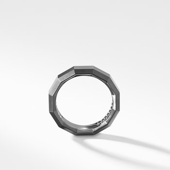 Faceted Band Ring in Grey Titanium
