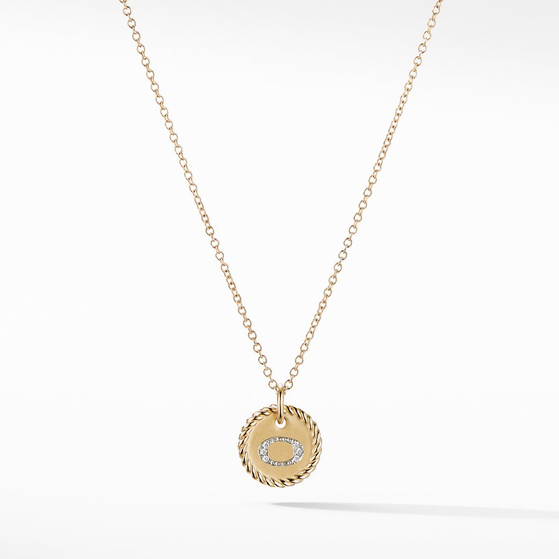 "David Yurman ""O"" Pendant with Diamonds in Gold on Chain"