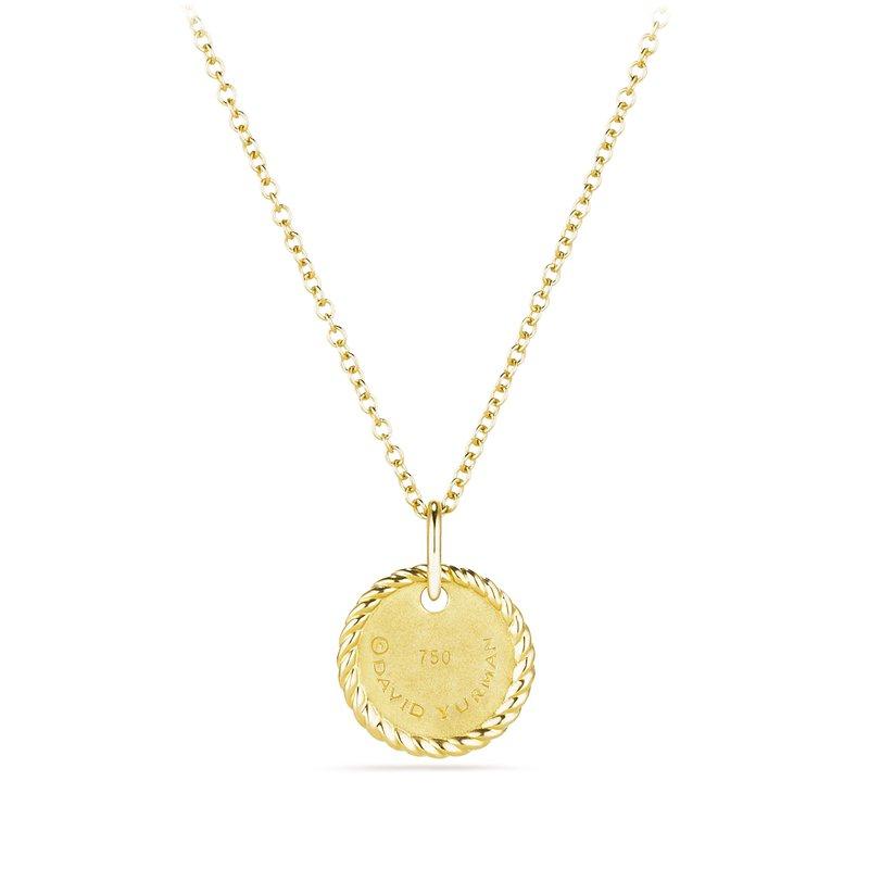 """David Yurman """"O"""" Pendant with Diamonds in Gold on Chain"""