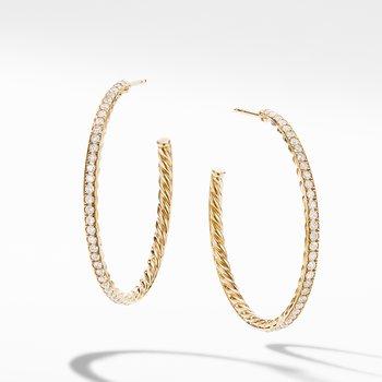 Medium Hoop Earrings in 18K Yellow Gold with Pavé Diamonds