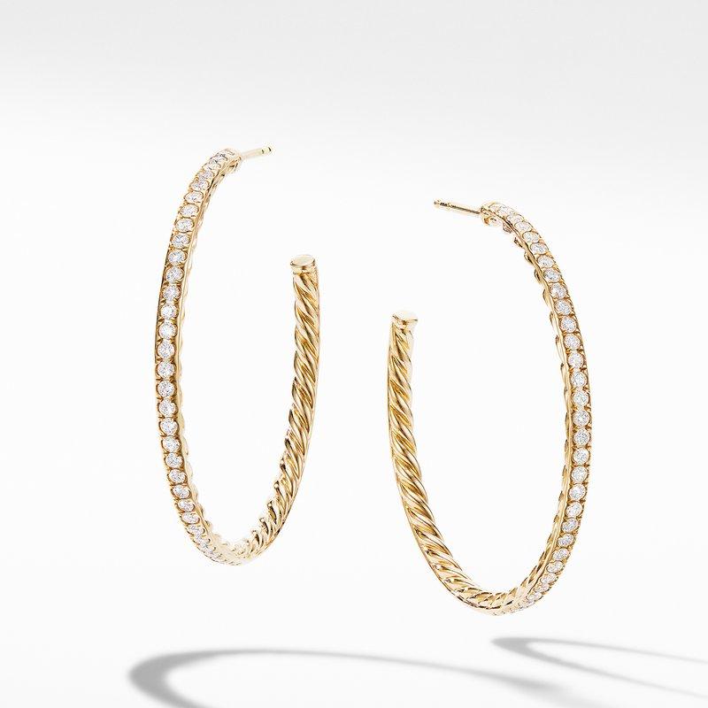 David Yurman Medium Hoop Earrings in 18K Yellow Gold with Pavé Diamonds