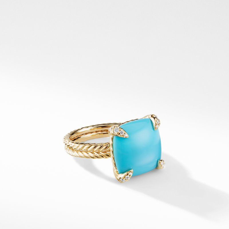 David Yurman Ring with Turquoise and Diamonds in 18K Gold