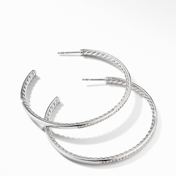 Large Hoop Earrings with Pavé Diamonds