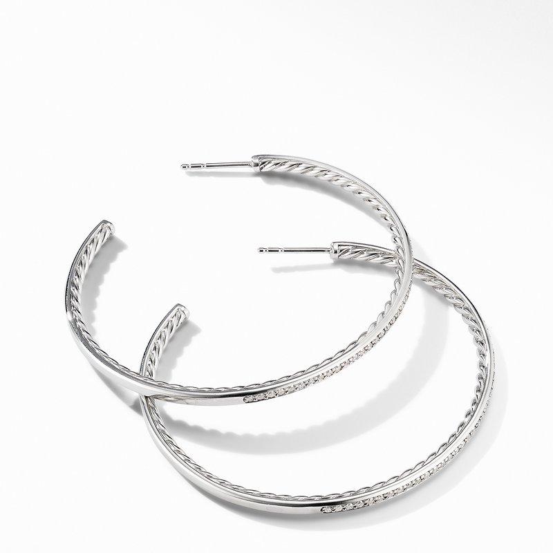 David Yurman Large Hoop Earrings with Pavé Diamonds