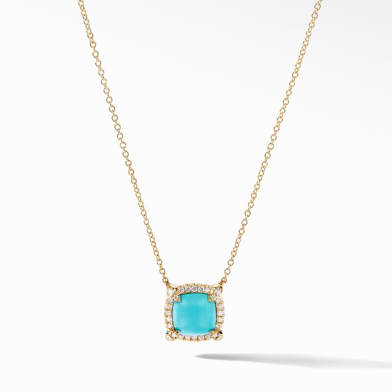 David Yurman Petite Chatelaine® Pavé Bezel Pendant Necklace in 18K Yellow Gold with Turquoise