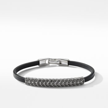 Chevron Black Leather ID Bracelet with Pavé Black Diamonds