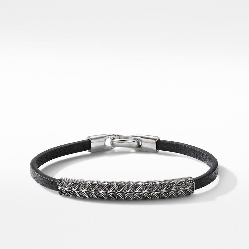David Yurman Chevron Black Leather ID Bracelet with Pavé Black Diamonds