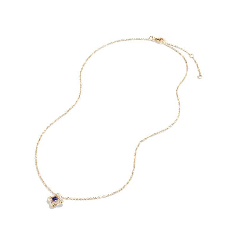 David Yurman Venetian Quatrefoil® Necklace with Tanzanite and Diamonds in 18K Gold