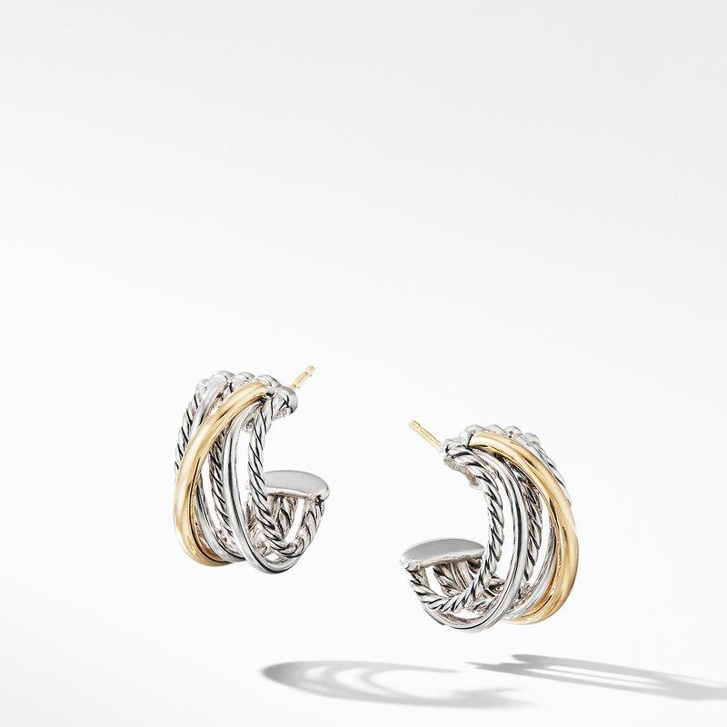 David Yurman Crossover Huggie Hoop Earrings with 18K Yellow Gold