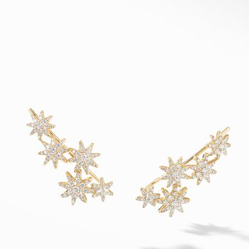 Starburst Climber Earrings in 18K Yellow Gold with Pavé Diamonds