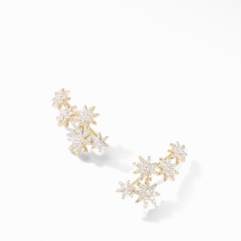David Yurman Starburst Climber Earrings in 18K Yellow Gold with Pavé Diamonds