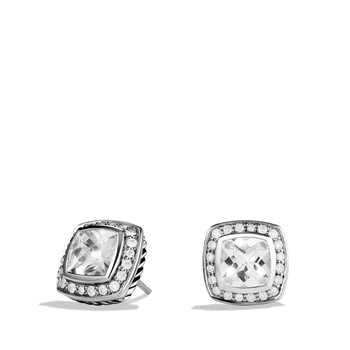 Earrings with White Topaz and Diamonds