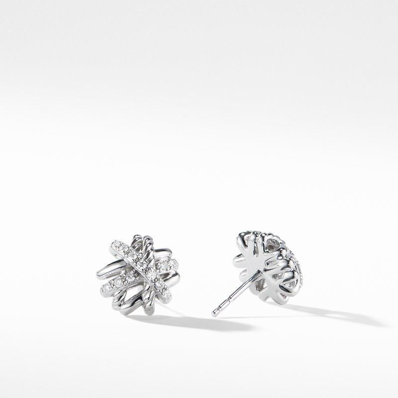 David Yurman Crossover Earrings with Diamonds,