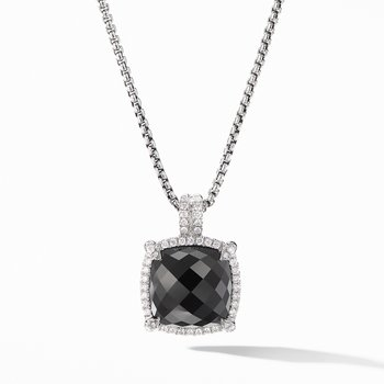 Chatelaine® Pavé Bezel Pendant Necklace with Black Onyx