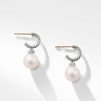 Solari Hoop Earrings with Diamond and Freshwater Pearl