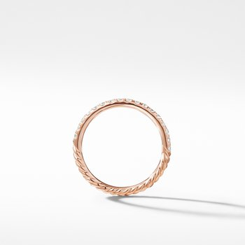 Cable Pavé Band Ring in 18K Rose Gold with Diamonds