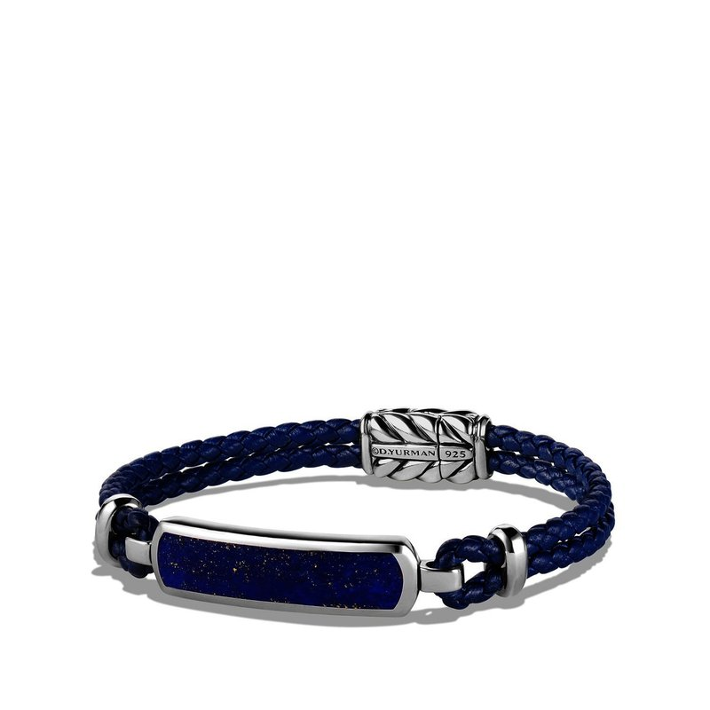 David Yurman Station Blue Leather Bracelet with Lapis Lazuli