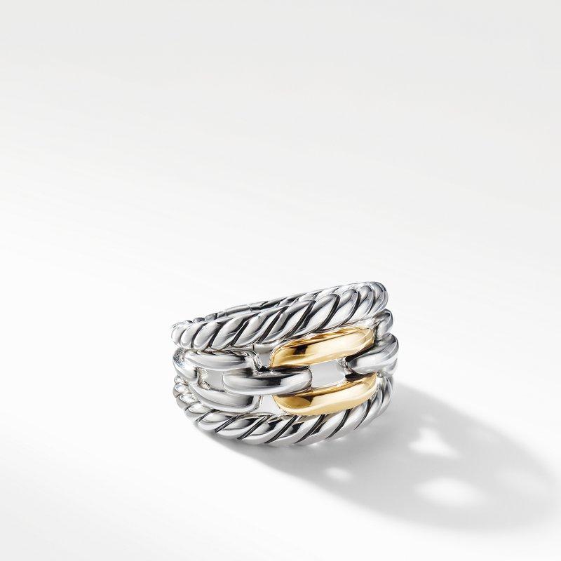 David Yurman Wellesley Link Three-Row Ring with 18K Gold