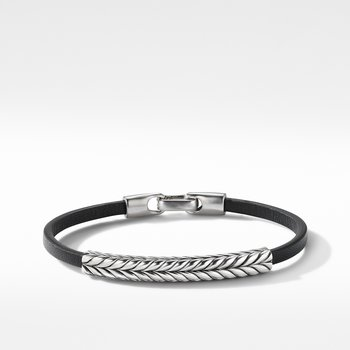 Chevron Black Leather ID Bracelet