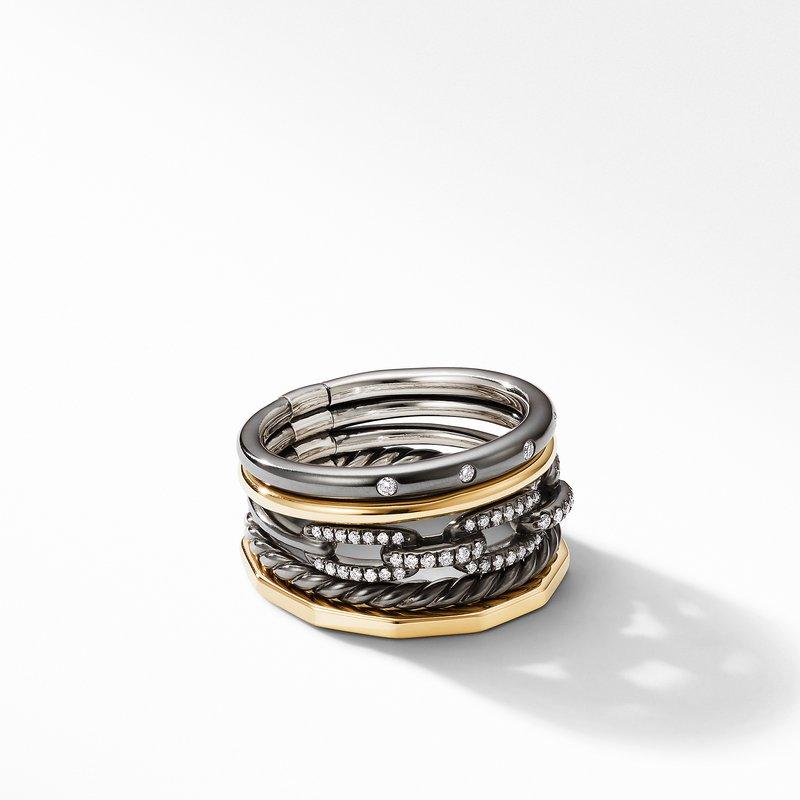 David Yurman Stax Wide Ring in Blackened Silver with Diamonds