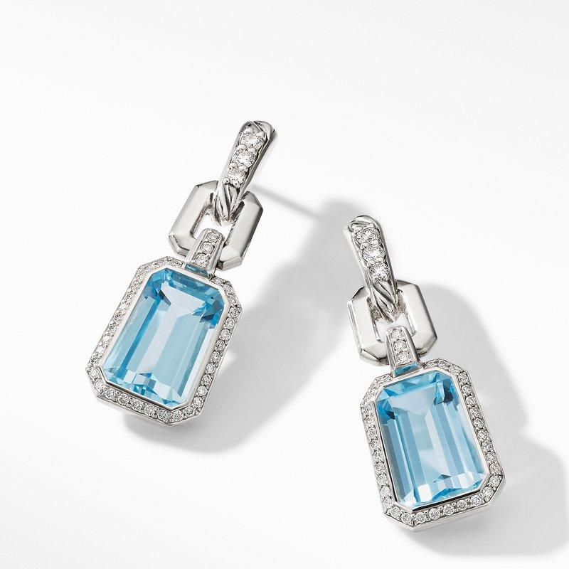 David Yurman Stax Drop Earrings with Blue Topaz and Diamonds