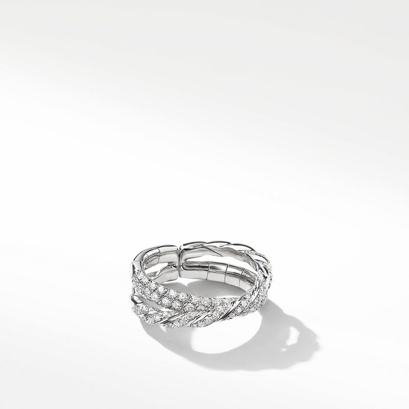 David Yurman Pavéflex Two Row Ring with Diamonds in 18K White Gold
