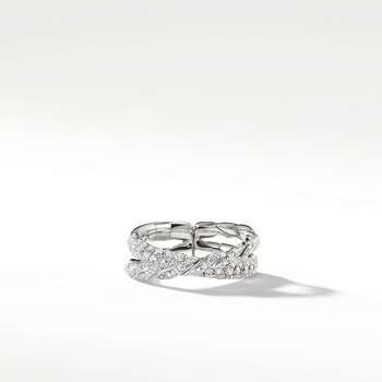 Pavéflex Two Row Ring with Diamonds in 18K White Gold