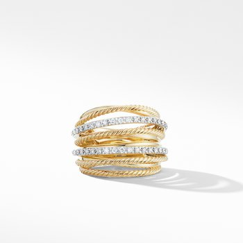 Crossover Wide Ring in 18K Yellow Gold with Diamonds