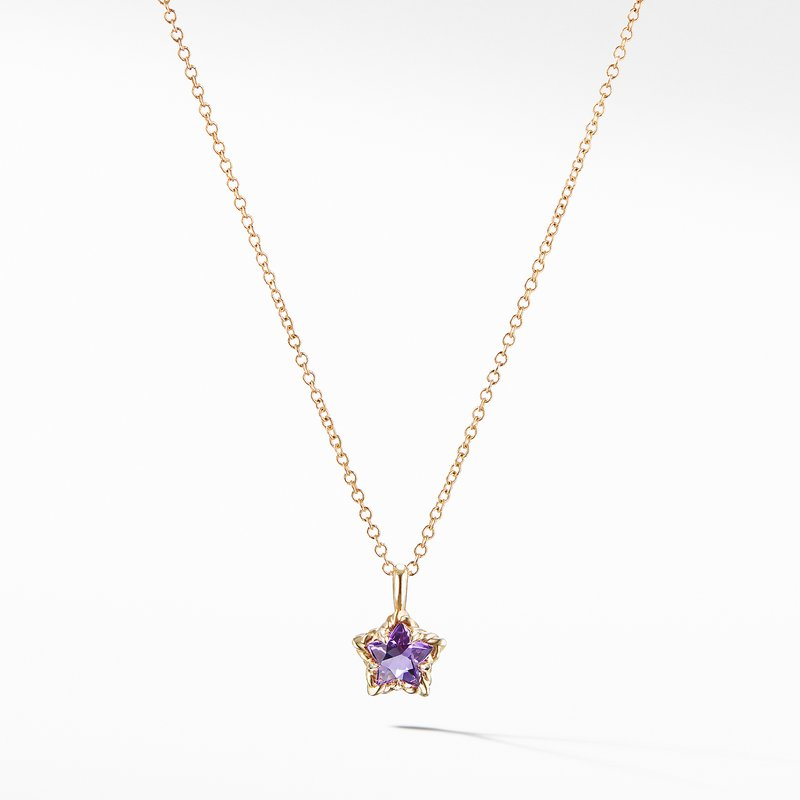 David Yurman Cable Collectibles® Kids Star Charm Necklace with Amethyst in 18K Gold
