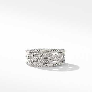 Stax Three-Row Chain Link Ring in 18K White Gold and Diamonds