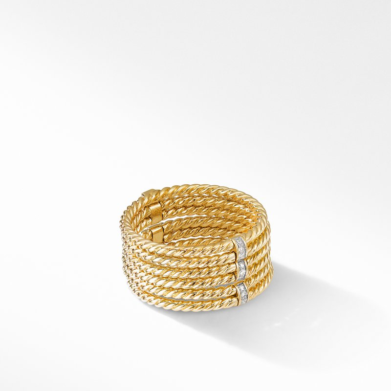 David Yurman DY Origami 6-Row Cable Ring in 18K Yellow Gold with Diamonds