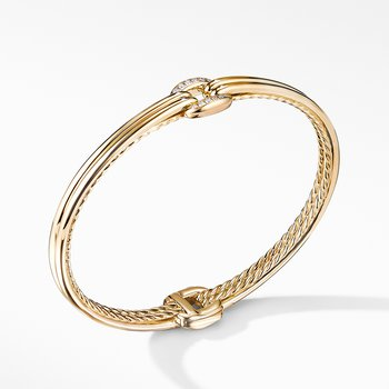 Thoroughbred® Center Link Bracelet in 18K Yellow Gold with Diamonds
