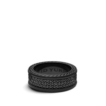 Streamline Three-Row Band Ring with Black Diamonds and Black Titanium