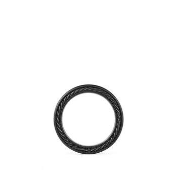 Streamline Three-Row Band Ring with Black Diamonds and Black Titanium
