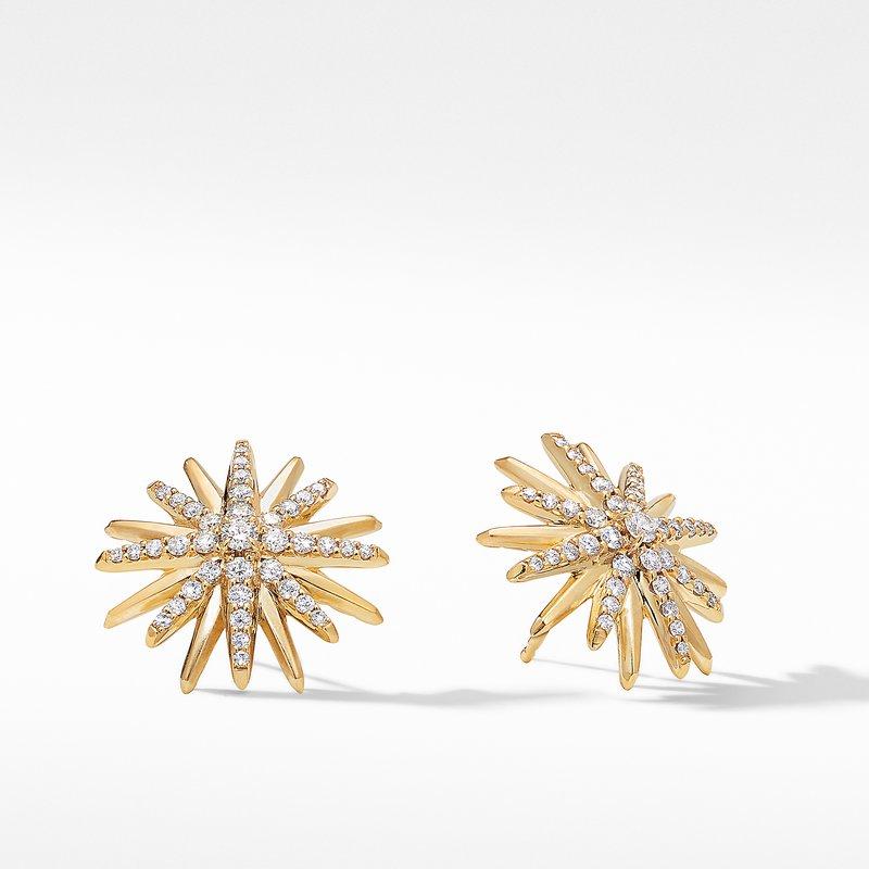 David Yurman Starburst Stud Earrings in 18K Yellow Gold with Pavé Diamonds
