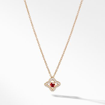 Necklace with Garnet and Diamonds in 18K Gold