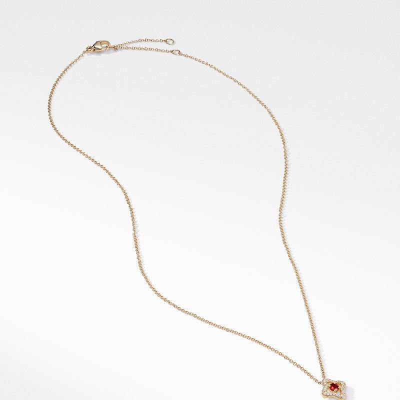 David Yurman Necklace with Garnet and Diamonds in 18K Gold
