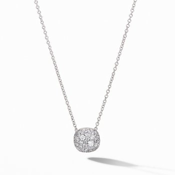 Cushion Stud Pendant Necklace in 18K White Gold with Pavé Diamonds