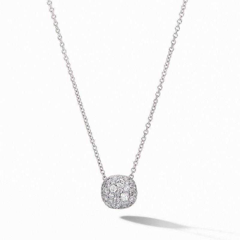 David Yurman Cushion Stud Pendant Necklace in 18K White Gold with Pavé Diamonds
