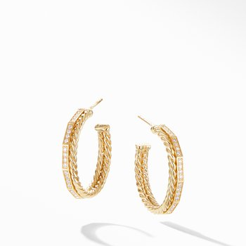 Stax Hoop Earrings with Diamonds in 18K Gold, 25mm